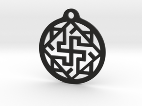 Swasthik / Kolam Pendant in Black Natural Versatile Plastic