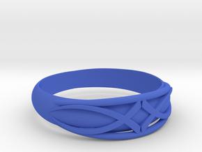 Size 7 L Ring  in Blue Processed Versatile Plastic