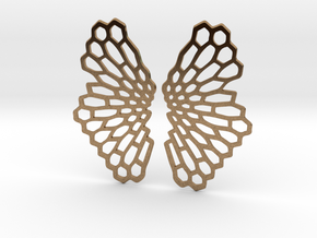 Honeycomb Butterfly Earrings / Pendant in Natural Brass