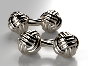 Silk Knot Cufflinks in Fine Detail Polished Silver