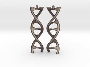 DNA Earring in Polished Bronzed Silver Steel