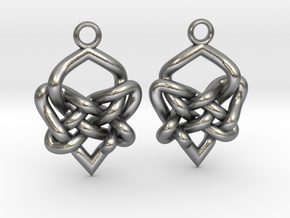 Celtic Heart Knot Earring in Natural Silver