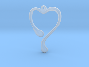 Heart shape pendant in Smooth Fine Detail Plastic