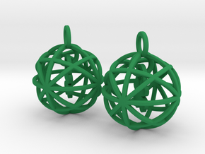 Clover in a Sphere Earrings in Green Processed Versatile Plastic