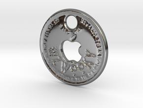 ZWOOKY Style 116 Sample - keychain Apple fan in Fine Detail Polished Silver