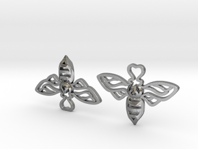 Bee Earrings in Natural Silver