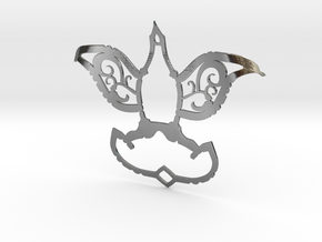 Dove/Flower Pendant  in Polished Silver