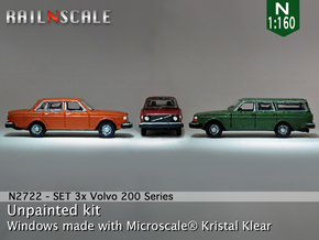 SET 3x Volvo 200-series (N 1:160) in Frosted Ultra Detail
