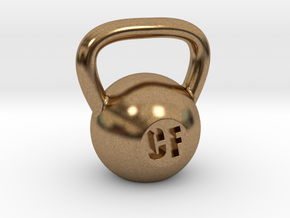 Crossfit Kettlebell Weight Pendant and Keychain in Natural Brass