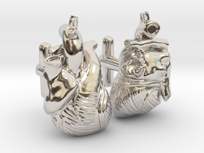 Anatomical Heart Cufflinks Pair (Front and Back) in Platinum