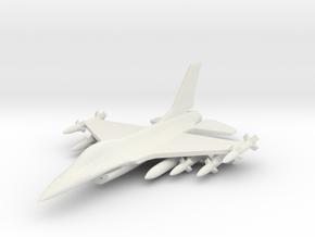 1/285 Scale F-16D w/Ordnance in White Natural Versatile Plastic