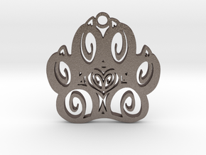 Canine Pawprint in Polished Bronzed Silver Steel