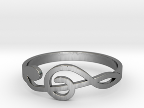 Size 10 G-Clef Ring  in Fine Detail Polished Silver