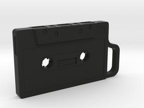 Cassette shape Keyring Key fob (Small) in Black Natural Versatile Plastic