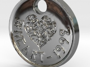 ZWOOKY Style 93 Sample - keychain heart in Fine Detail Polished Silver