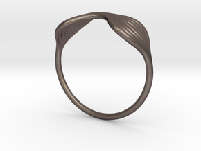 Flow Ring 02 in Polished Bronzed Silver Steel