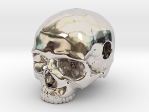 20mm .8in Keychain Bead Human Skull in Platinum