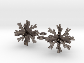 Snowflake Earring Iva in Polished Bronzed Silver Steel