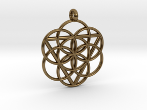 FEMININE SEED OF LIFE PENDANT  in Polished Bronze