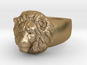 Lion Ring (size11) in Polished Gold Steel