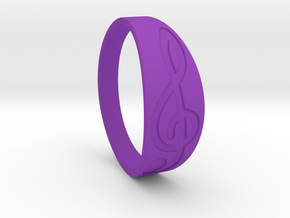 Size 8 M G-Clef Ring Engraved in Purple Processed Versatile Plastic