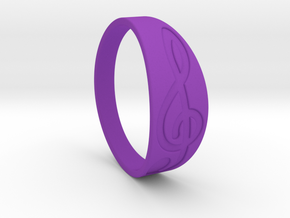 Size 7 M G-Clef Ring Engraved in Purple Processed Versatile Plastic