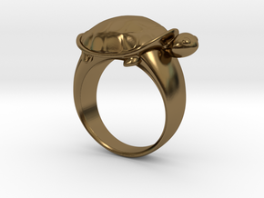 Turtle Ring (Size 7.5) in Polished Bronze
