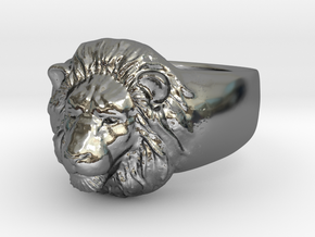 Lion Ring (size11) in Fine Detail Polished Silver