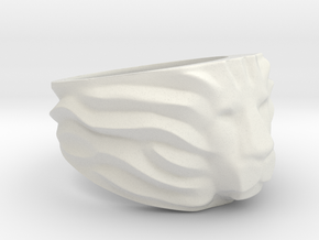 Lion's Head Ring in White Natural Versatile Plastic