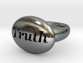 S46 Small Signet Truth Ring Scaled To Size 7.25  in Polished Silver