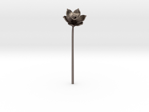Narcissus Flower in Polished Bronzed Silver Steel
