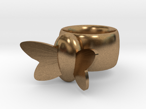 Butterfly Ring in Natural Brass