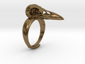 Crow Ring With Logo in Natural Bronze