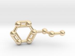 Phenethylamine Molecule Keychain Pendant in 14K Yellow Gold