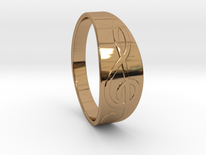 Size 8 M G-Clef Ring  in Polished Brass