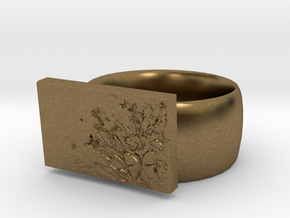 Flower  Ring Version 7 in Natural Bronze