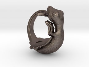 Gecko size16 in Polished Bronzed Silver Steel