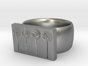 Flower Ring Version 10 in Natural Silver