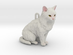 Custom Cat Ornament - Blanca in Full Color Sandstone