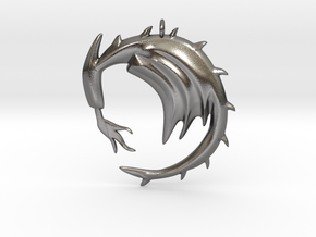 Dragon with Fire Breath in Polished Nickel Steel