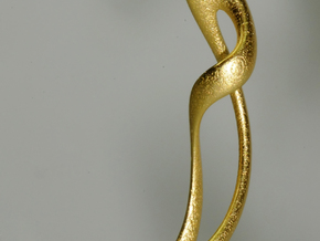 Earring: Twisted loop - 5 cm in Matte Gold Steel