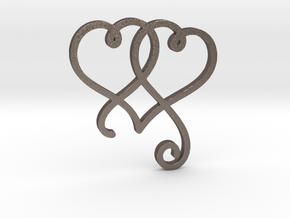 Linked Swirly Hearts (~4mm depth) in Polished Bronzed Silver Steel