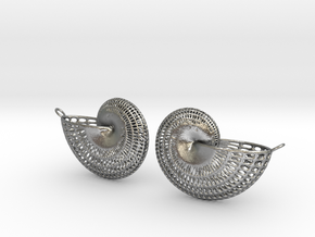 Nautilus Earring Pair (2) with attachment loop in Natural Silver