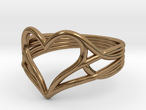 Woven Heart Ring - Larger (Size 7) in Natural Brass