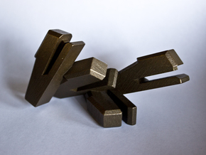 Stapler Cluster Bursting Out of a Corner in Matte Bronze Steel