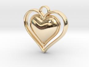 Framed Heart Pendant in 14K Yellow Gold