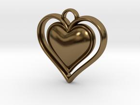 Framed Heart Pendant in Polished Bronze