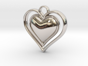 Framed Heart Pendant in Platinum