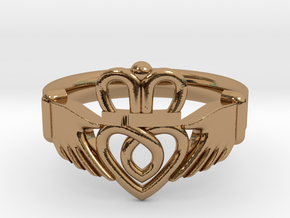 Traditional Claddagh Ring in Polished Brass: 5 / 49