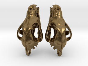 Wolf Skull Earrings in Natural Bronze